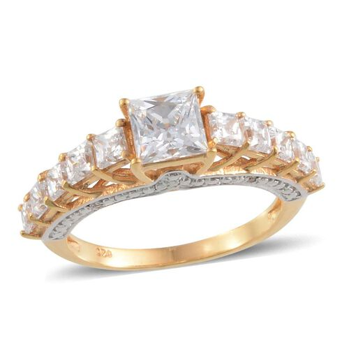 J Francis - 14K Gold Overlay Sterling Silver (Sqr) Ring Made with SWAROVSKI ZIRCONIA 2.602 Ct.