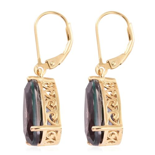 Colour Change Alexandrite Quartz (Pear) Lever Back Earrings in 14K Gold Overlay Sterling Silver 8.750 Ct.