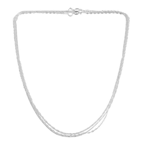 Vicenza Collection - Set of 3 Diamond Cut Box, Anchor and Singapore Chain (Size 18) in Rhodium Plated Sterling Silver, Silver wt. 4.00 Gms.