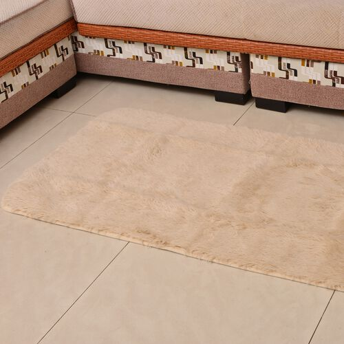 Super-Plush Extra-Long Pile Cream Colour YETI Lounge Rug (Size 180X140 Cm)
