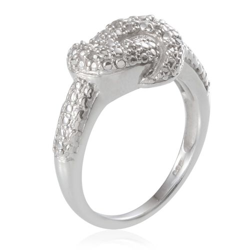 Diamond (Rnd) Knot Ring in Platinum Overlay Sterling Silver 0.100 Ct.