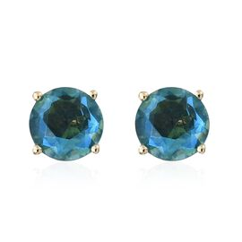 Super Auction- One Time Deal 9K Yellow Gold AAA Peacock Quartz (Rnd) Stud Earrings (with Push Back) 2.000 Ct.
