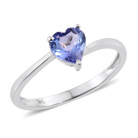 9K White Gold 1 Ct AA Tanzanite Heart Solitaire Ring