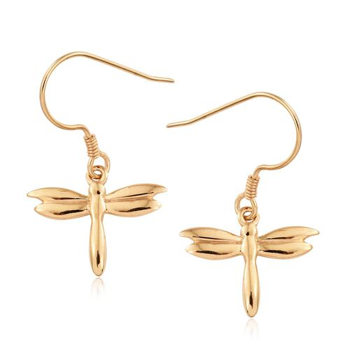 14K Gold Overlay Sterling Silver Dragonfly Hook Earrings