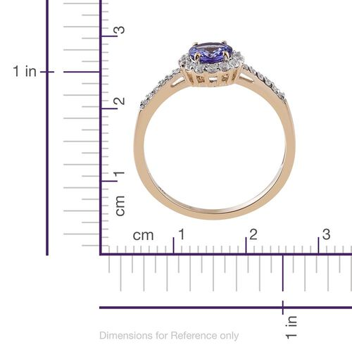 9K Y Gold AA Tanzanite (Rnd 0.90 Ct), Natural Cambodian Zircon Ring 1.170 Ct.