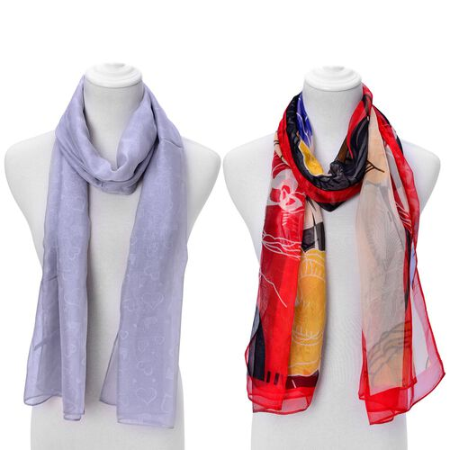Set of 2 - Designer Inspired Hearts Pattern Grey and Floral and Leaves Pattern Multi Colour Scarf (Size 175x70 Cm)