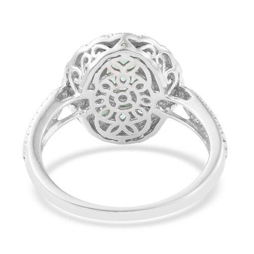 AAA Kagem Zambian Emerald (Ovl), Diamond Ring in Platinum Overlay Sterling Silver 1.215 Ct.