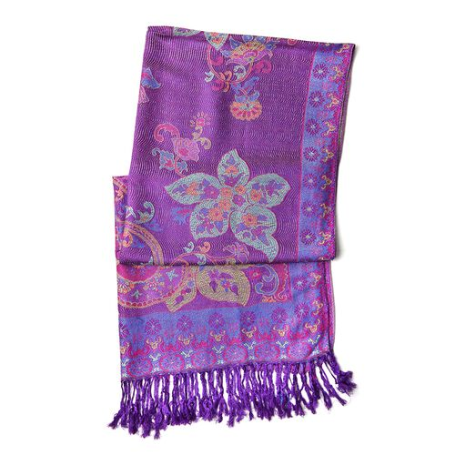 Purple, Pink and Multi Colour Floral and Paisley Pattern Scarf with Tassels (Size 170X68 Cm)