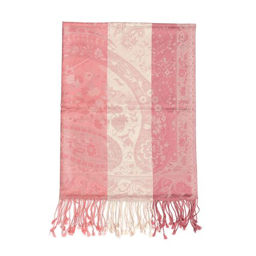 100% Superfine Silk Dark and Light Pink Colour Jacquard Jamawar Shawl with Paisley Motifs and Fringes at the Bottom (Size 180x70 Cm) (Weight 125 - 140 Gms)