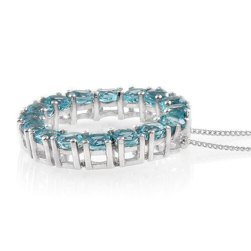 Paraiba Apatite (Rnd) Circle of Life Pendant with Chain in Platinum Overlay Sterling Silver 3.250 Ct.