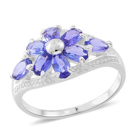 Limited Edition- Designer Inspired Tanzanite (Ovl) Floral Ring in Sterling Silver 1.750 Ct.