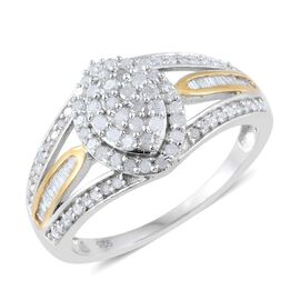 Diamond (Rnd) Ring in Platinum and Yellow Gold Overlay Sterling Silver 0.750 Ct.
