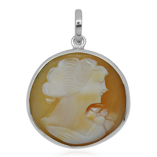 (Option 3) Royal Bali Collection Cameo (Rnd) Pendant in Sterling Silver 15.720 Ct.