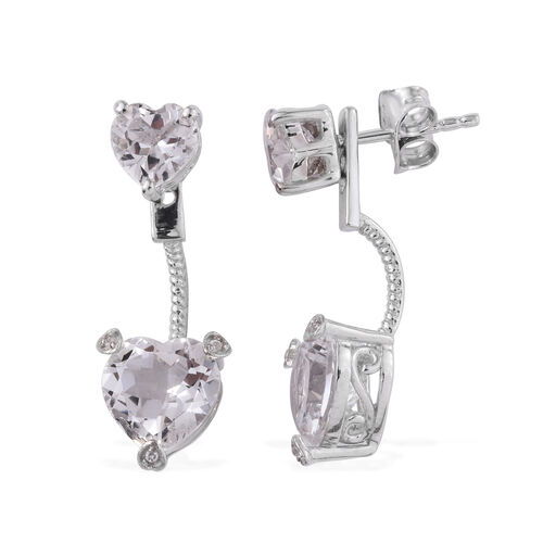 New York CloseOut-White Topaz (Hrt), Natural Cambodian Zircon Jacket Earrings (with Push Back) in Platinum Overlay Sterling Silver 4.010 Ct.