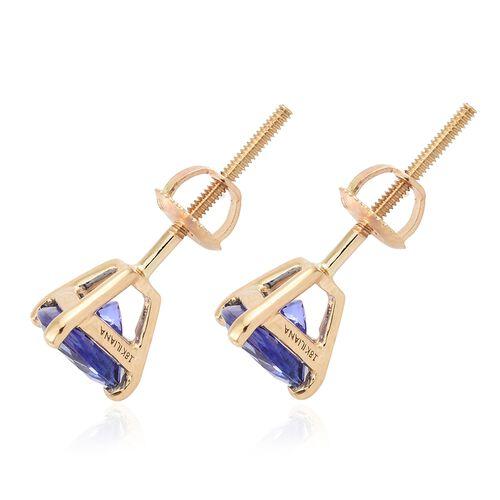 ILIANA 18K Yellow Gold AAA Tanzanite (Trl) Stud Earrings (with Screw Back) 1.250 Ct.