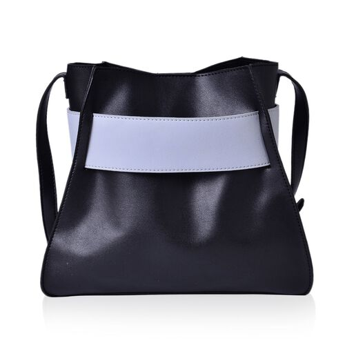 Set of 2 - Black and Light Grey Colour Large Handbag with Adjustable Shoulder Strap and Small Handbag (Size 28x25x12.5 Cm, 17.5x15x7.5 Cm)