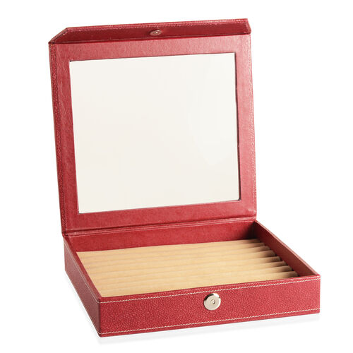 Hand Crafted - Eco Leatherette Cherry Colour 100 Slot Ring Box with Magnetic Closure (Size 24x22x4 Cm)