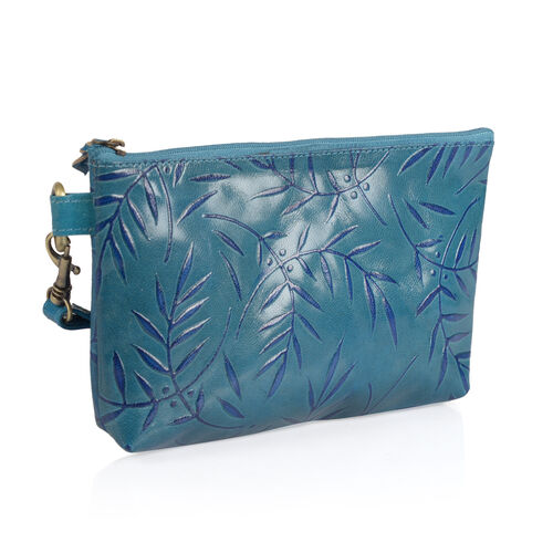 Set of 2 - Genuine Leather Sea Blue Colour Leaves Pattern Handbag (Size 20x13 Cm) with Adjustable Strap and Coin Pouch (Size 7x5 Cm)