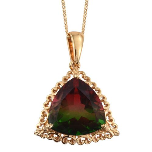 Bi-Color Tourmaline Quartz (Trl) Solitaire Pendant With Chain in 14K Gold Overlay Sterling Silver 10.000 Ct.