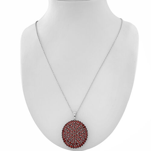 AAA Mozambique Garnet (Rnd) Cluster Pendant With Chain (30 Inch) in Rhodium Plated Sterling Silver 25.500 Ct. Silver wt. 15.00 Gms. Gemstone Studded 85 Pcs