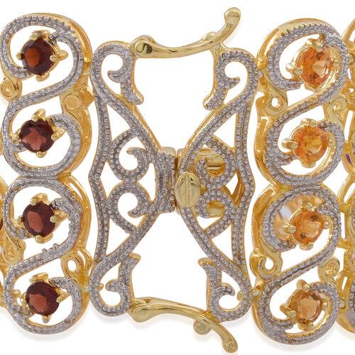 Mozambique Garnet (Rnd), Sky Blue Topaz, Rhodolite Garnet, Hebei Peridot, Amethyst, Citrine and Iolite Bracelet (Size 7.5) in 14K Gold Overlay Sterling Silver 18.500 Ct.Silver Wt. 52.00 Gms