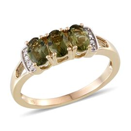 9K Y Gold Bohemian Moldavite (Ovl), Natural Cambodian Zircon Ring 1.250 Ct.