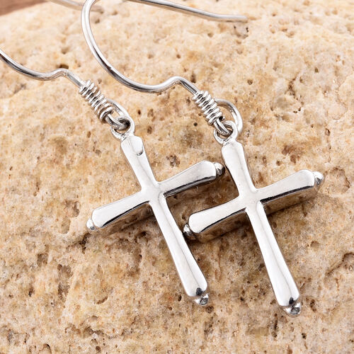 Platinum Overlay Sterling Silver Cross Hook Earrings