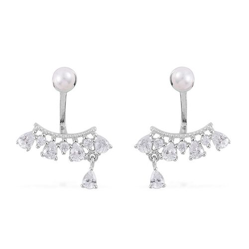 ELANZA AAA Simulated White Diamond and White Shell Pearl Jacket Earrings (with Push Back) in Rhodium Plated Sterling Silver