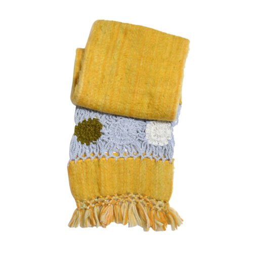 Gold Colour Scarf with Fringes (Size 200x30 Cm)