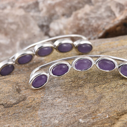 Purple Jade (Ovl) Climber Earrings in Platinum Overlay Sterling Silver 6.250 Ct.