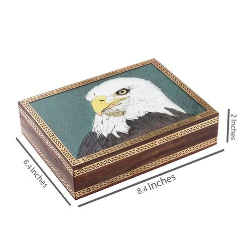 Handcrafted Wooden Gemstone Jewellery Box with Eagle Painting on Top (Size 21x16x5 Cm)