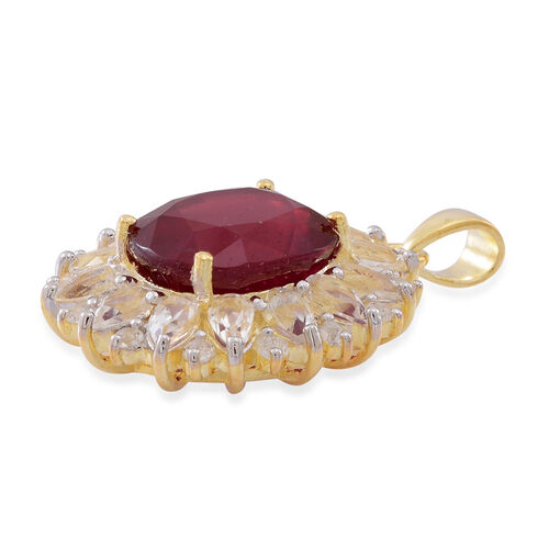 AAA African Ruby (Ovl 10.50 Ct), White Topaz Pendant in 14K Gold Overlay Sterling Silver 15.000 Ct.
