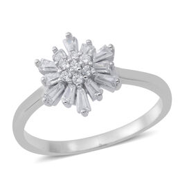 ELANZA AAA Simulated White Diamond (Bgt and Rnd) Ring in Rhodium Plated Sterling Silver