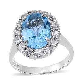 Limited Edition Designer Inspired Rare Size Swiss Blue Topaz (Ovl 14x10mm 7.10 Ct), Natural White Cambodian Zircon Ring in Rhodium Plated Sterling Silver 9.50 Ct. Silver wt 5.68 Gms.