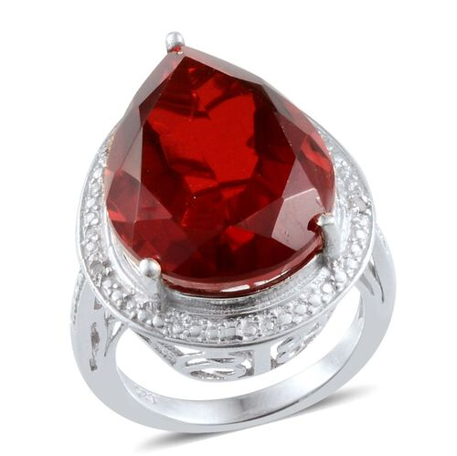 Ruby Quartz (Pear 15.50 Ct), Diamond Ring in Platinum Overlay Sterling Silver 15.520 Ct.