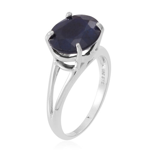 Blue Sapphire (Ovl) Solitaire Ring in Rhodium Plated Sterling Silver 6.250 Ct.