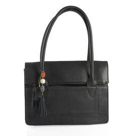 Genuine Leather RFID Blocker Black Colour Tote Bag with Gemstone Adorned Tassel Charm (Size 32X24 Cm)