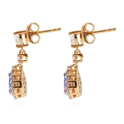 Tanzanite (Pear), White Topaz Earrings (with Push Back) in 14K Gold Overlay Sterling Silver 1.750 Ct.