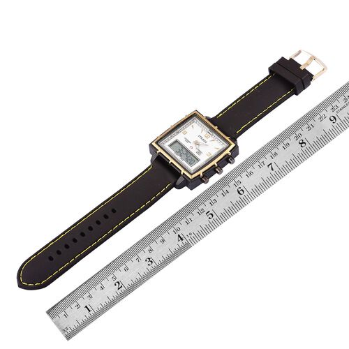 STRADA Chinese Movement White Colour Analog - Digital Watch in Black Tone with Black Colour Silicone Strap