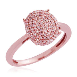 Designer Inspired-9K Rose Gold Natural Pink Diamond (Rnd) Cluster Ring 0.330 Ct.