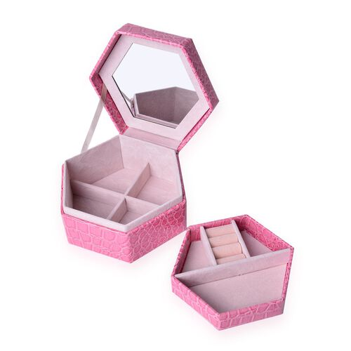Rose Colour Croc Embossed Hexagon Shaped 2 Layer Jewellery Box with Mirror inside (Size 14.5x12.5x7.2 Cm)
