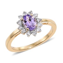 14K Y Gold AA Pink Tanzanite (Ovl), Diamond (I2/G-H) Ring 1.000 Ct.