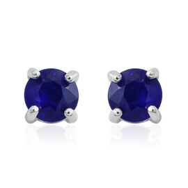 1 Carat Very Rare Blue Spinel Stud Earrings in Rhodium Plated Silver (with Push Back)
