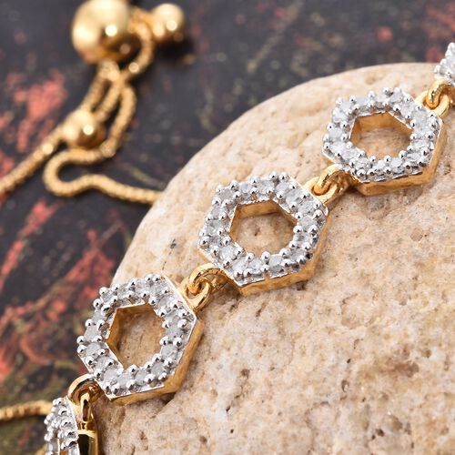 Diamond 0.50 Carat Silver Honeycomb Adjustable Bracelet in Gold Overlay (Size 6.5 to 8.5)