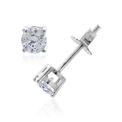 9K White Gold 0.50 Carat Diamond Round Solitaire Stud Earrings (with Push Back) SGL Certified I3 G-H