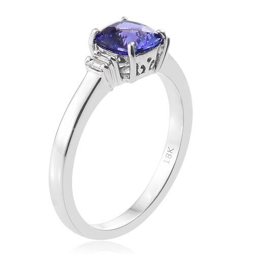 ILIANA 18K White Gold 1.50 Ct AAA Tanzanite, Diamond (SI/G-H) Ring