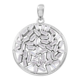 ELANZA AAA Simulated White Diamond (Bgt) Pendant in Rhodium Plated Sterling Silver, Silver wt 5.00 Gms.