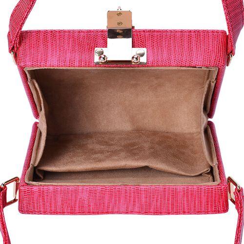Debora Lizard Look Structured Ladylike Red Colour Clutch Bag (Size 20x14x13 Cm)
