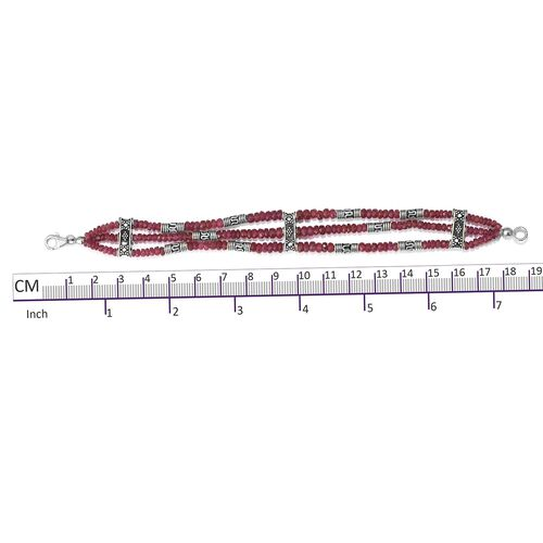 One Time Deal-African Ruby (Rnd) Beads Bracelet (Size 7.5) in Sterling Silver 60.000 Ct. Silver wt. 12.00 Gms.