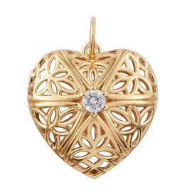 J Francis - 14K Gold Overlay Sterling Silver (Rnd) Heart Pendant  Made with SWAROVSKI ZIRCONIA